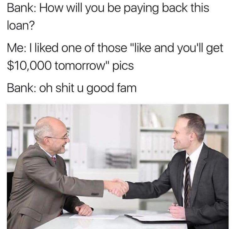 Wednesday meme about getting money from liking a pic with stock photo of two men shaking hands
