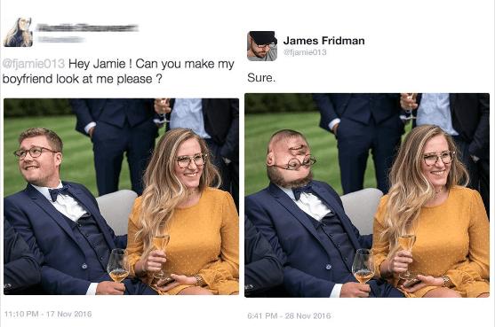 Photograph - James Fridman @jamie013 @fjamie013 Hey Jamie! Can you make my boyfriend look at me please? Sure. 11:10 PM 17 Nov 2016 6:41 PM- 28 Nov 2016