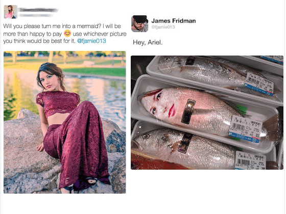 Product - James Fridman ejamie013 Will you please tun me into a mermaid? I will be more than happy to pay use whichever picture you think would be best for it. @fjamie013 Hey, Ariel. ENN ww