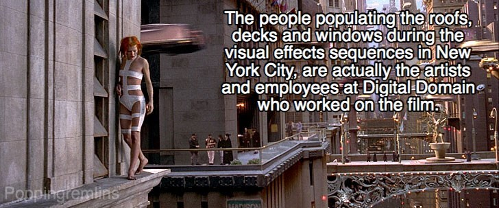 Architecture - The people populating the roofs, decks and windows during the visual effects sequences in New York City, are actually the artists and employees at Digital Domaine who worked on the film Poppingremlins