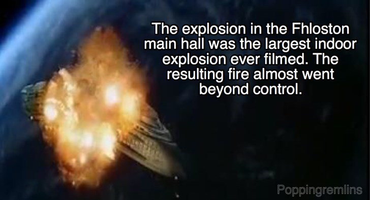 Font - The explosion in the Fhloston main hall was the largest indoor explosion ever filmed. The resulting fire almost wer beyond control. Poppingremlins