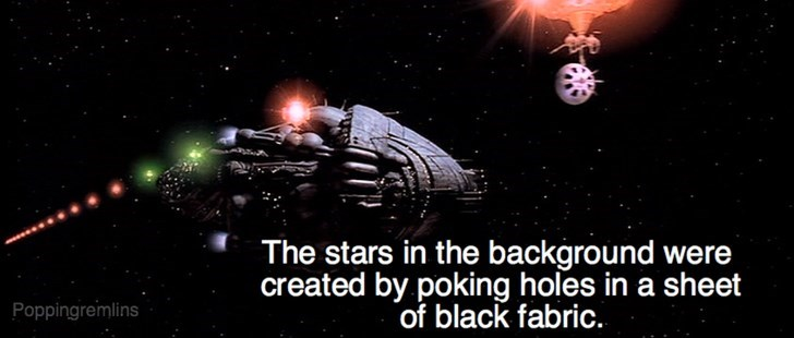 Space - The stars in the background were created by poking holes in a sheet of black fabric. Poppingremlins