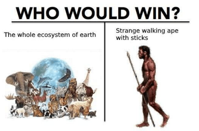 Human - WHO WOULD WIN? Strange walking ape with sticks The whole ecosystem of earth