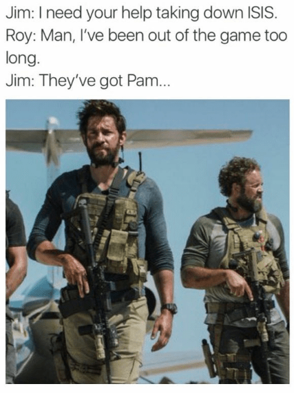 Soldier - Jim: I need your help taking down ISIS. Roy: Man, I've been out of the game too long. Jim: They've got Pam...