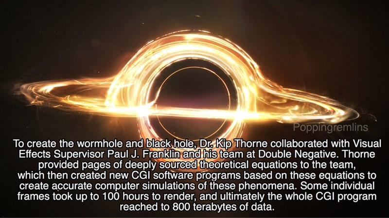 Light - Poppingremlins To create the wormhole and blackhole, Dr. Kip Thorne collaborated with Visual Effects Supervisor Paul J. Franklin and his team at Double Negative. Thorne provided pages of deeply sourced theoretical equations to the team, which then created new CGI software programs based on these equations to create accurate computer simulations of these phenomena. Some individual frames took up to 100 hours to render, and ultimately the whole CGI program reached to 800 terabytes of data.