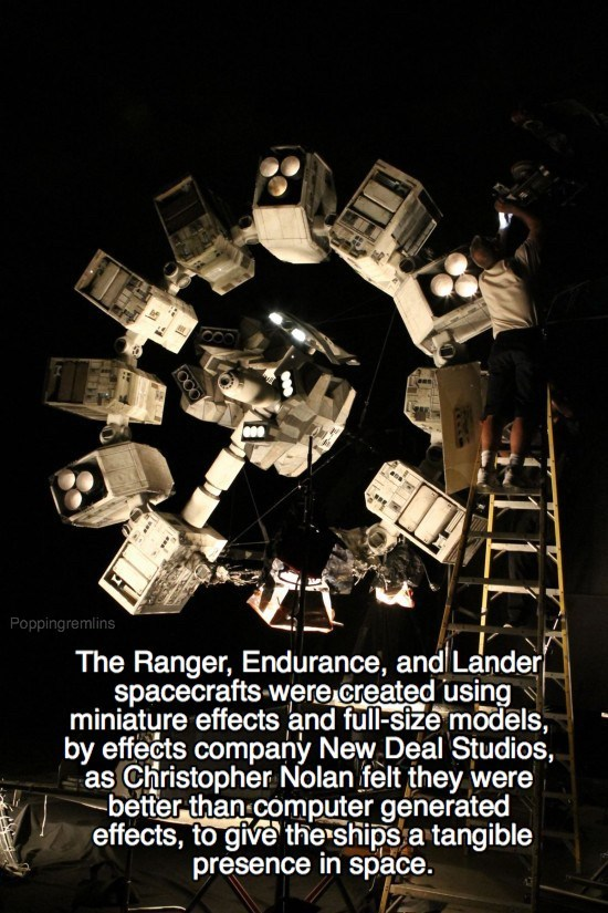 Poster - Poppingremlins The Ranger, Endurance, and Lander spacecrafts were created using miniature effects and full-size models, by effects company New Deal Studios, as Christopher Nolan felt they were better than computer generated effects, to give the ships a tangible presence in space.