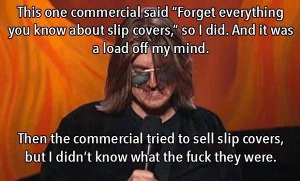 "Text - This one commercial said ""Forget everything you know about slip covers,"" so I did. And it was load off my mind. Then the commercial tried to sell slip covers, but I didn't know what the fuck they were."