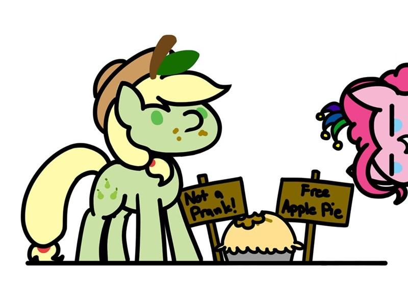 applejack,puns,pinkie pie,flutterluv