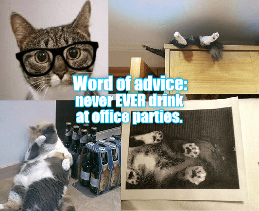 drink never Office parties caption Cats - 9023773184