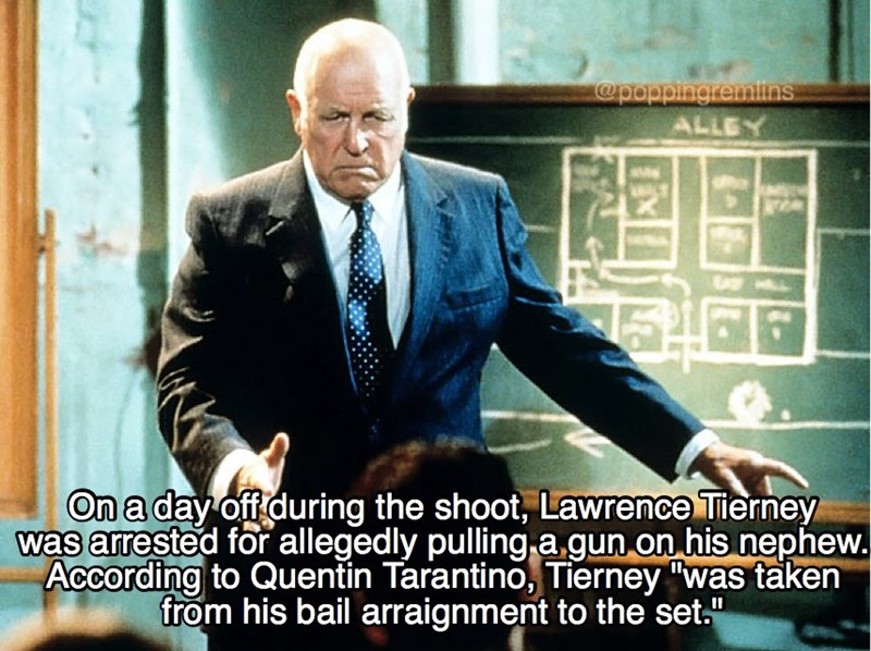 """Photo caption - @pappingremlins ALLEY On a day off during the shoot, Lawrence Tierney was arrested for allegedly pulling a gun on his nephew. According to Quentin Tarantino, Tierney """"was taken from his bail arraignment to the set."""""""