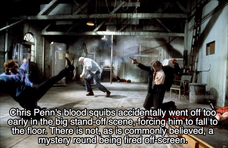 Adaptation - leppppngremlins Chris Penn's blood squibs accidentally went off too early in the big stand-off scene, forcing him to fall to the floor, There is not, as is commonly believed, a mystery round being fired off-screen.