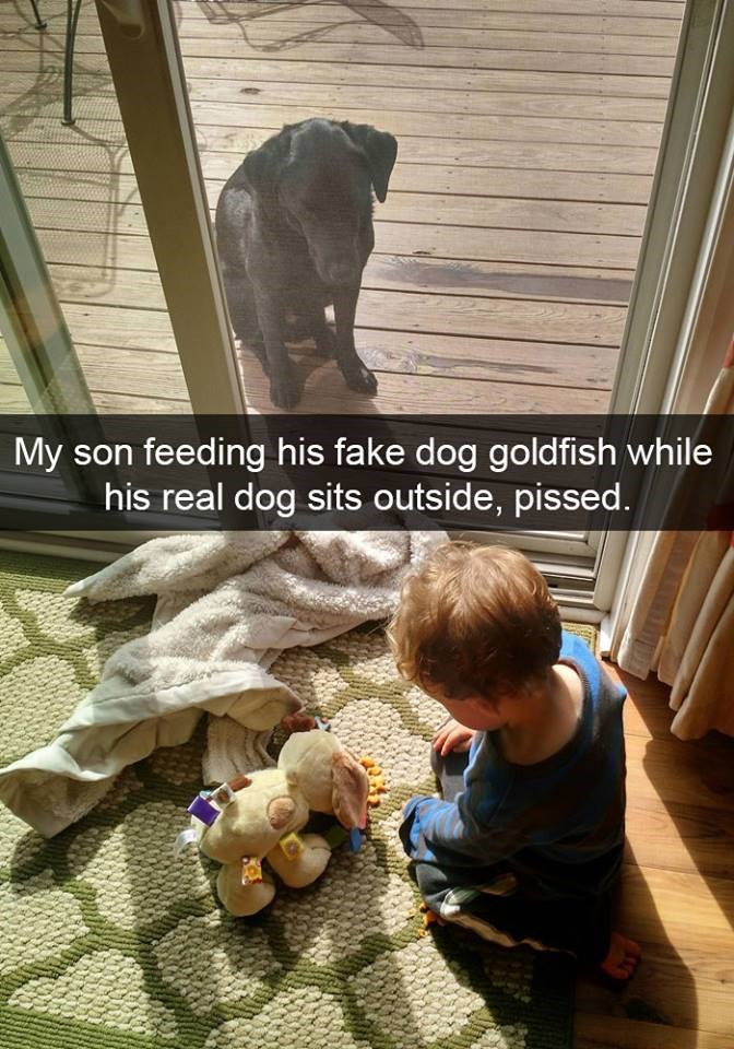 snapchat - Toddler - My son feeding his fake dog goldfish while his real dog sits outside, pissed.