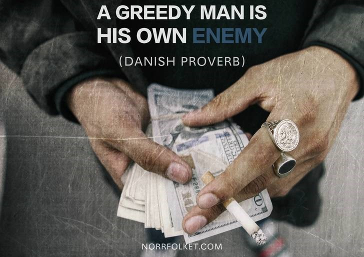 Hand - A GREEDY MAN IS HIS OWN ENEMY (DANISH PROVERB) MAMA NORRFOLKET.COM L288