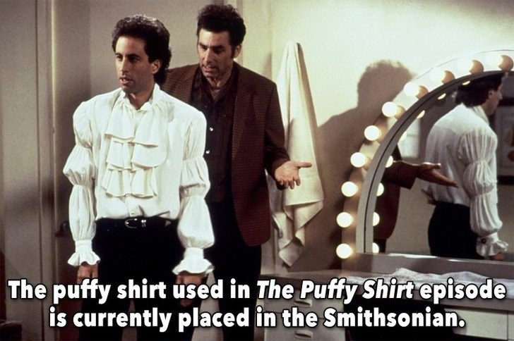 Photo caption - The puffy shirt used in The Puffy Shirt episode is currently placed in the Smithsonian.