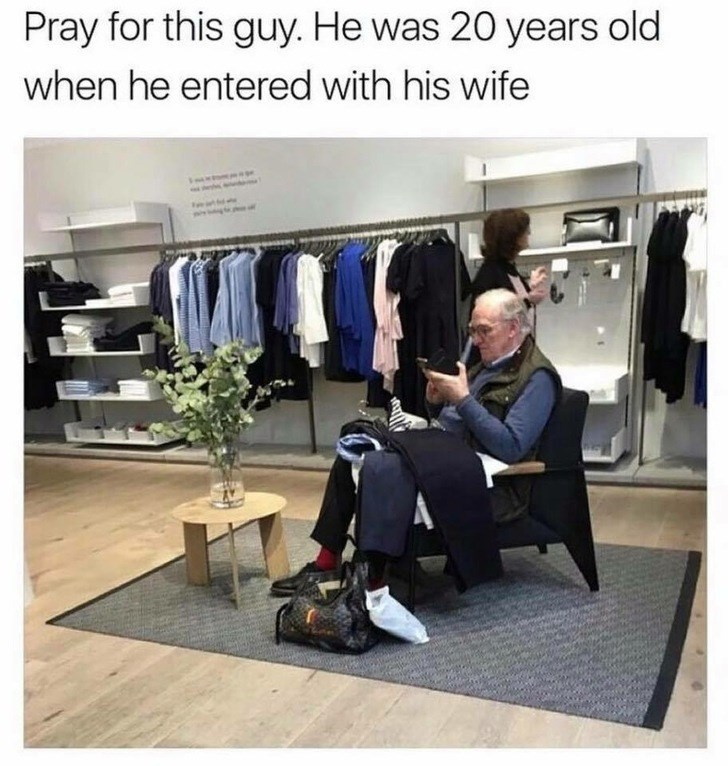 inappropriate meme about men shopping with their wives