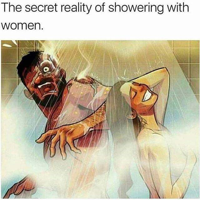 inappropriate meme about trying to shower with women