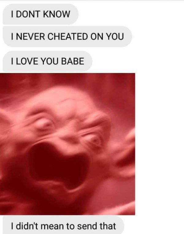 Text - I DONT KNOW I NEVER CHEATED ON YOU I LOVE YOU BABE I didn't mean to send that