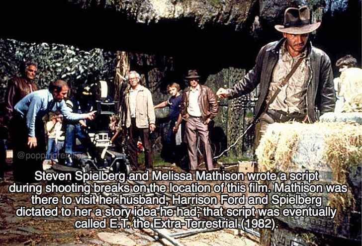 Tree - @poppingterl Steven Spielberg and Melissa Mathison wrote a script during shooting breaks on the location of this film. Mathison was there to visit herhusband, Harrison Ford and Spielberg dictated to her a storyidea he had that script was eventually called ET the Extra-Terrestrial (1982)