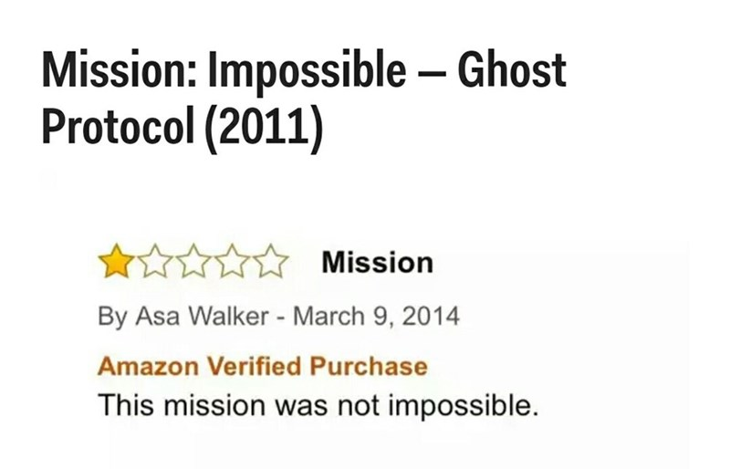 Text - Mission: Impossible Ghost Protocol (2011) Mission By Asa Walker - March 9, 2014 Amazon Verified Purchase This mission was not impossible.
