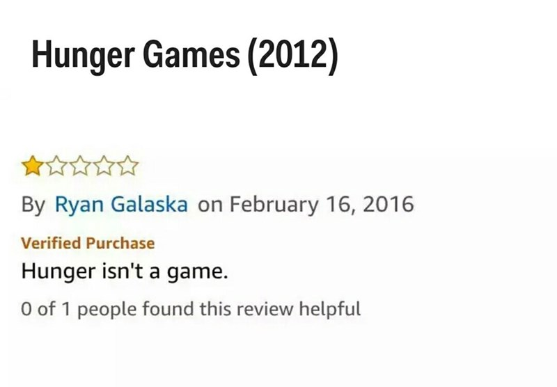 Text - Hunger Games (2012) By Ryan Galaska on February 16, 2016 Verified Purchase Hunger isn't a game. O of 1 people found this review helpful