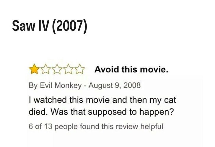 Text - Saw IV (2007) Avoid this movie By Evil Monkey - August 9, 2008 I watched this movie and then my cat died. Was that supposed to happen? 6 of 13 people found this review helpful