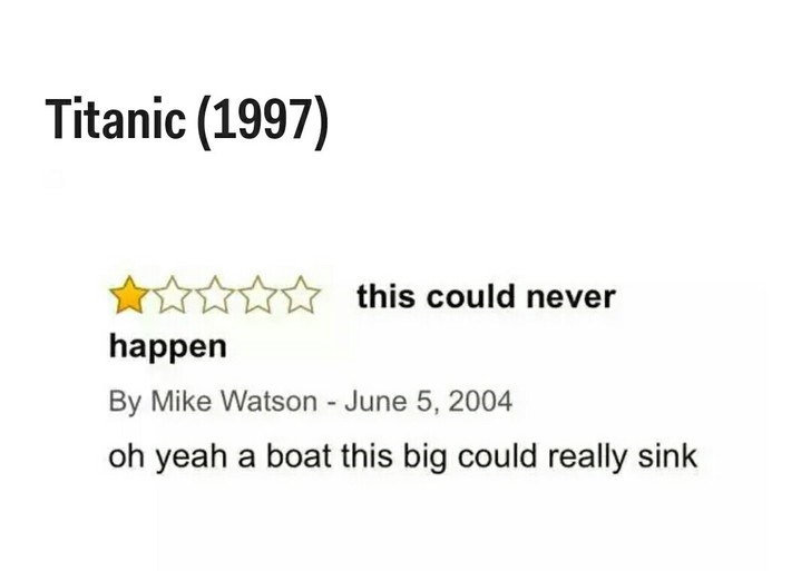 Text - Titanic (1997) this could never happen By Mike Watson - June 5, 2004 oh yeah a boat this big could really sink