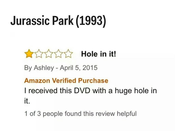Text - Jurassic Park (1993) Hole in it! By Ashley -April 5, 2015 Amazon Verified Purchase I received this DVD with a huge hole in it. 1 of 3 people found this review helpful