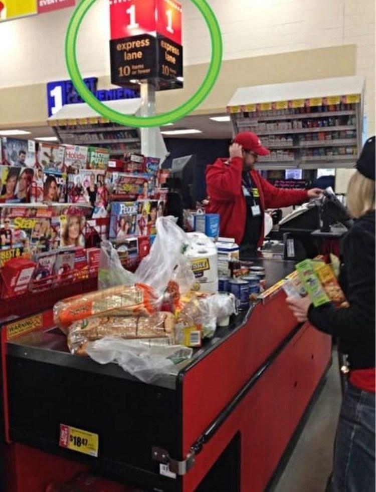 FAIL - Supermarket - express lane express ae 10 10 NIEHT Holida WARAING $1847