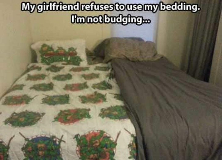FAIL - Bedroom - My girlfriend refuses to use mybedding. Omnot budging.c.