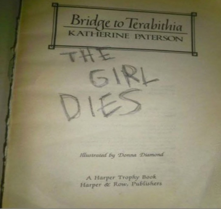 FAIL - Text - Bridge to Terabithia KATHERINE PATERSON THE GIRL DIES llustrated by Donna Diamond A Harper Trophy Book Harper& Row, Publishers