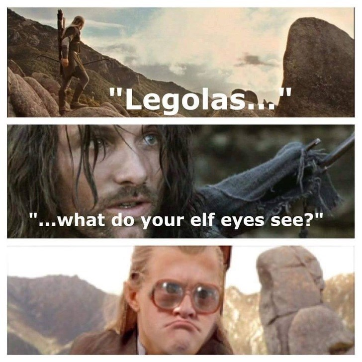 "Text - ""Legolas. ""...what do your elf eyes see?"""