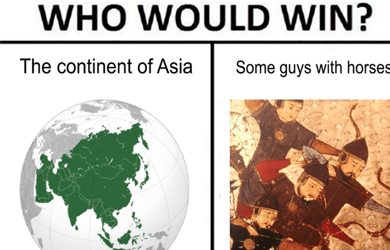 World - WHO WOULD WIN? The continent of Asia Some guys with horses