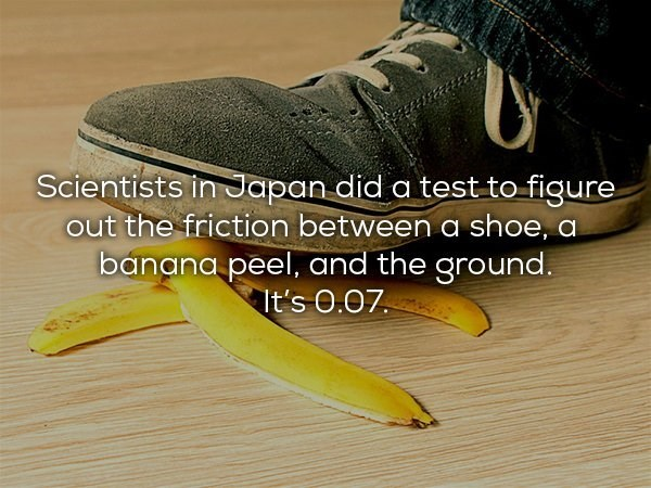 Footwear - Scientists in Japan did a test to figure out the friction between a shoe, a banana peel, and the ground. It's 0.07