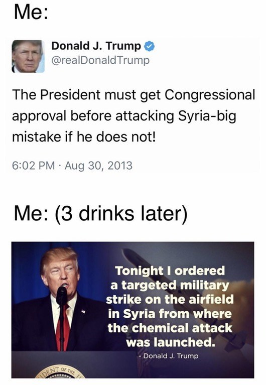 Donald Trump meme about requiring congressional approval to attack Syria