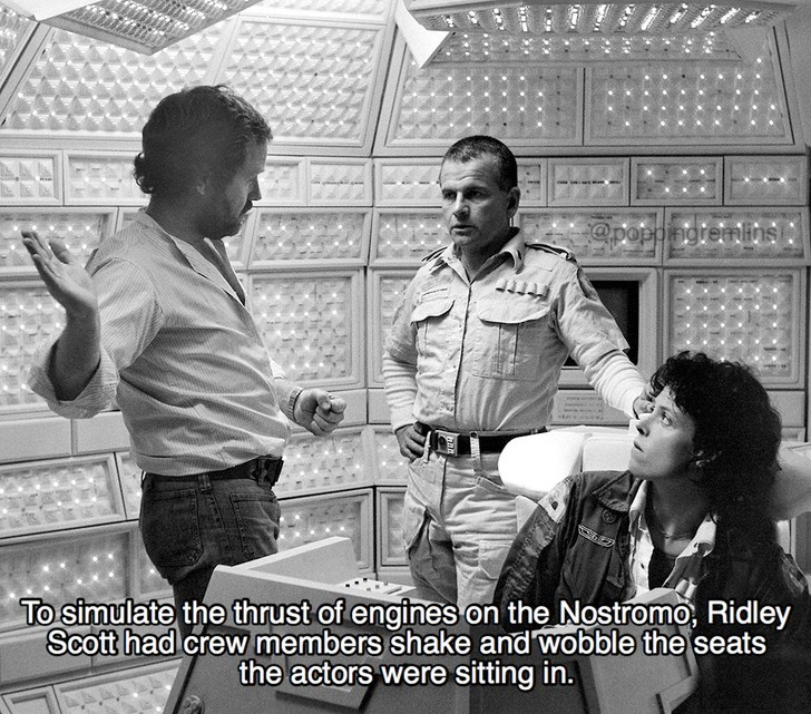 Black-and-white - @poppingremins To simulate the thrust of engines on the Nostromo, Ridley Scott had crew members shake and wobble the seats the actors were sitting in.