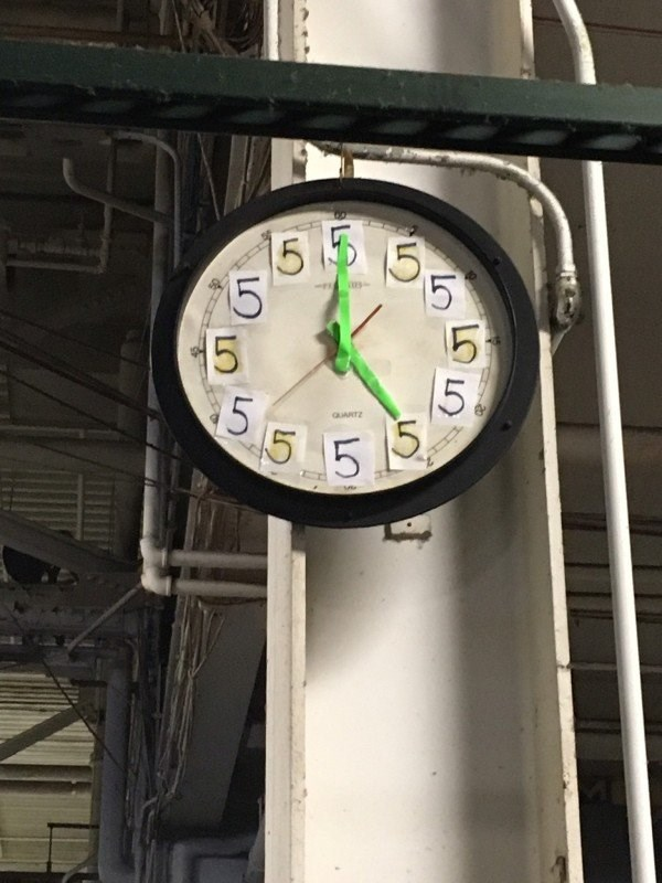 "work meme with pic of a clock where all of the numbers were replaced by ""5"""