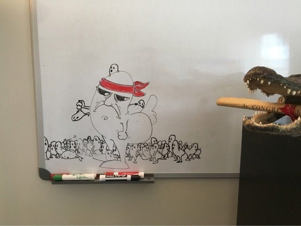 work meme with whiteboard drawing of an army of dickbutts