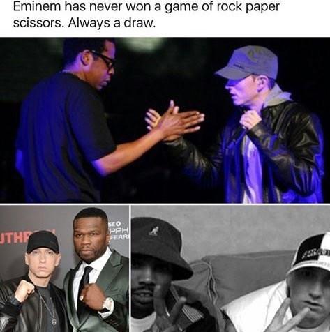 eminem has never wone rock paper scissors