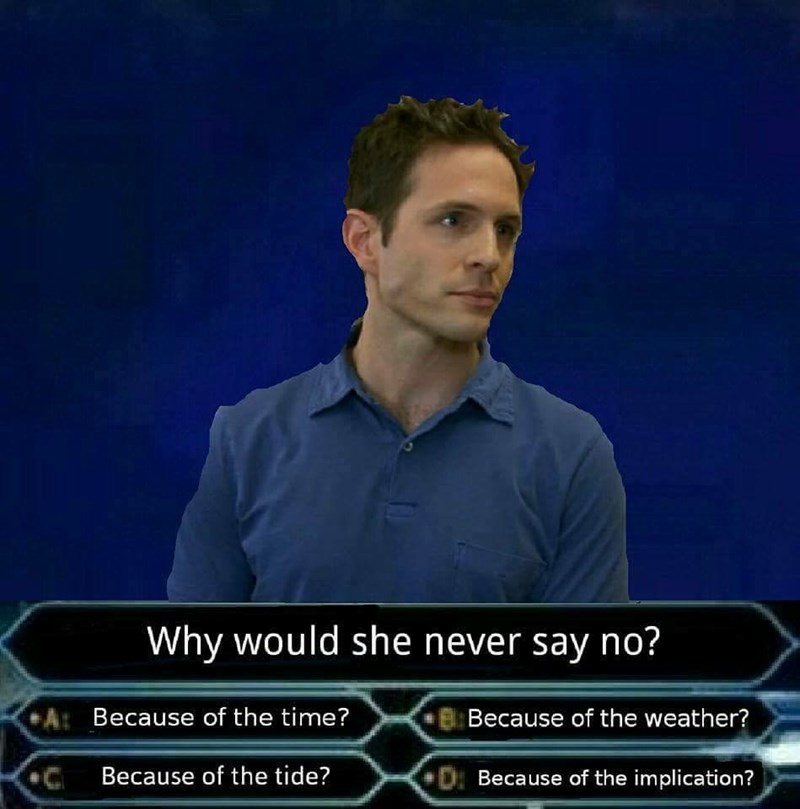 "Dennis from Always Sunny on ""Do you want to be a millionaire"" game show answering implication question"