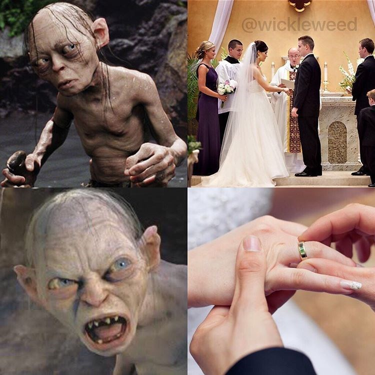 gollum upset when couple getting married exchanges rings