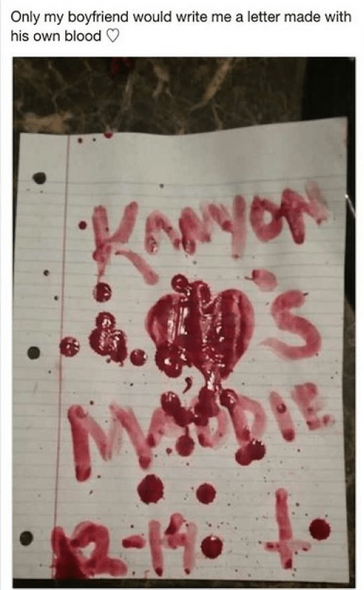 Text - Only my boyfriend would write me a letter made with his own blood Kwoy KAeyoR