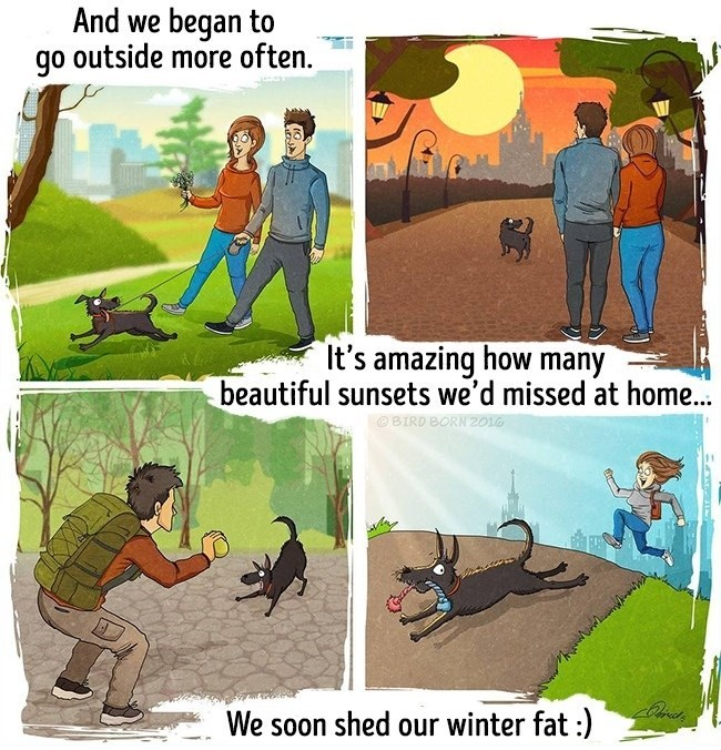 Cartoon - And we began to go outside more often. It's amazing how many beautiful sunsets we'd missed at home. BIRD BORN 201G We soon shed our winter fat :)