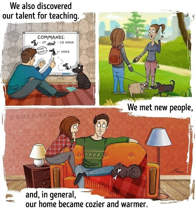 Cartoon - We also discovered our talent for teaching. COMMANDS: - SIT - LIE DOWN WOOF AWOOF!! VOICE We met new people, | OBIRD BORN 2016 and, in general, our home became cozier and warmer.