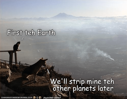 Meme of a dog and a cat over looking an industrial wasteland and saying they will just strip away resources and then go find another planet.