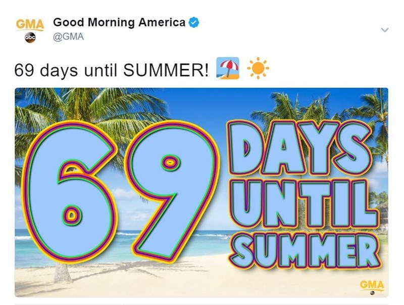 good morning america points out 69 days until summer