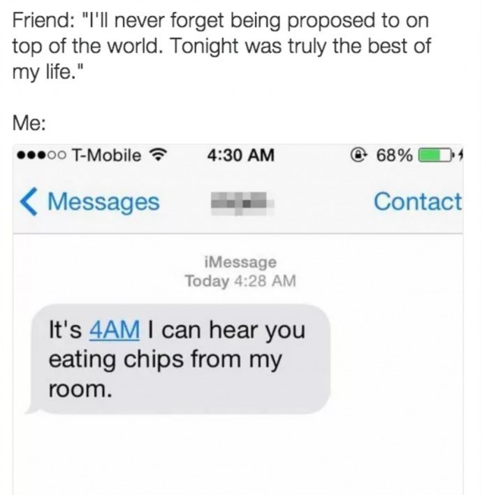 meme about comparing your friends' lives to your own with text message commenting on your loud chewing