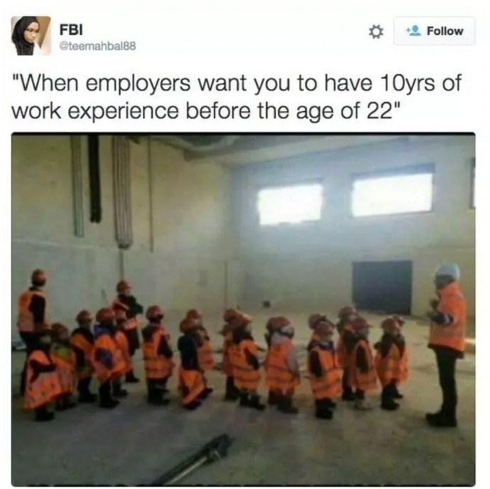 tweet about impossible expectation from employers with pic of small children wearing helmets and safety jackets