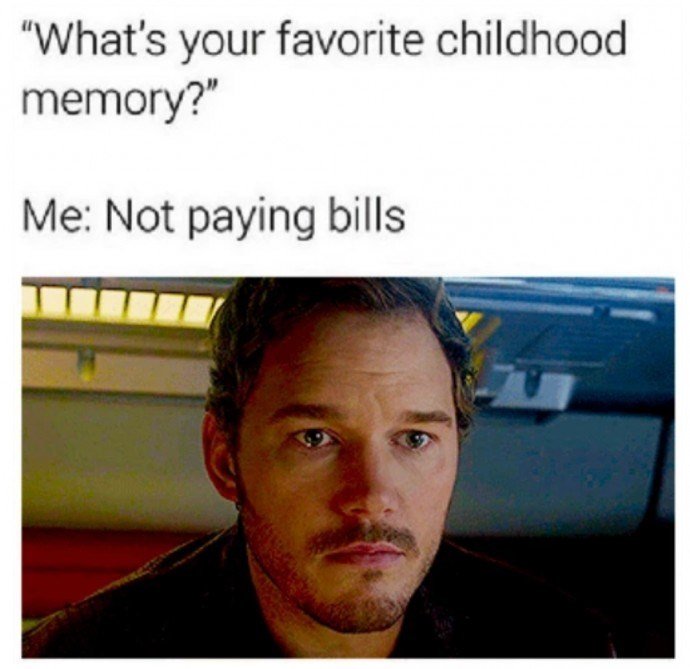 meme about missing not having adult responsibilities with pic of Chris Pratt on the verge of tears