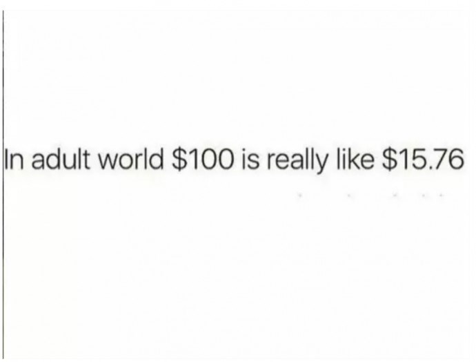 meme about growing up and getting a better grasp of the concept of money