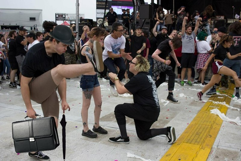 The mosh pit wedding proposal funny photoshop picture of kicker wearing bowling hat.